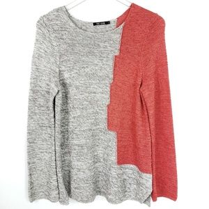 NIC+ZOE Color block Asymmetrical Coral Sweater L